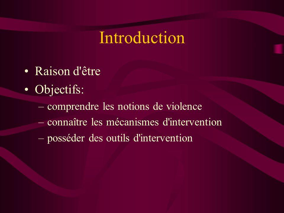 Introduction Raison d'être Objectifs: –comprendre les notions de violence –connaître les mécanismes d'intervention –posséder des outils d'intervention