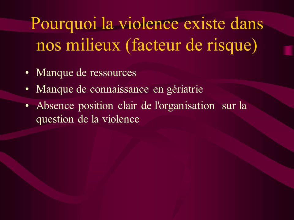 Pourquoi la violence existe dans nos milieux (facteur de risque) Manque de ressources Manque de connaissance en gériatrie Absence position clair de l'
