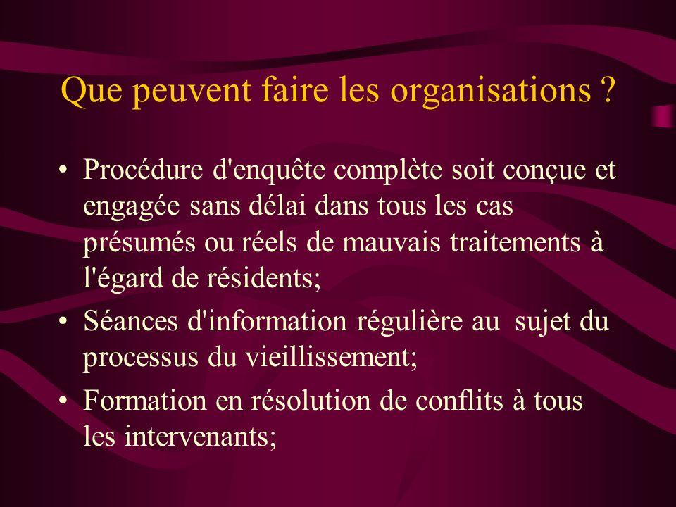 Que peuvent faire les organisations ? Procédure d'enquête complète soit conçue et engagée sans délai dans tous les cas présumés ou réels de mauvais tr