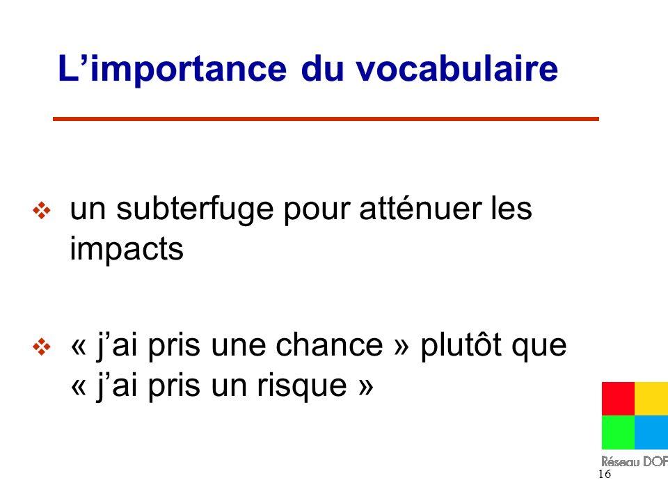 16 Limportance du vocabulaire un subterfuge pour atténuer les impacts « jai pris une chance » plutôt que « jai pris un risque »