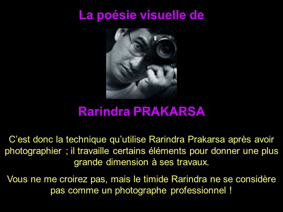 La poésie visuelle de Cest donc la technique quutilise Rarindra Prakarsa après avoir photographier ; il travaille certains éléments pour donner une plus grande dimension à ses travaux.