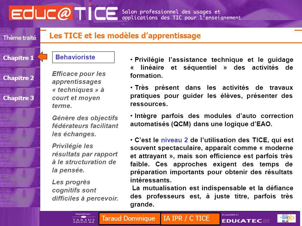 Taraud Dominique Les TICE et les Sciences et Techniques Industrielles Thème traitéChapitre 1Chapitre 2Chapitre 3Chapitre 4Chapitre 5Chapitre 6Chapitre