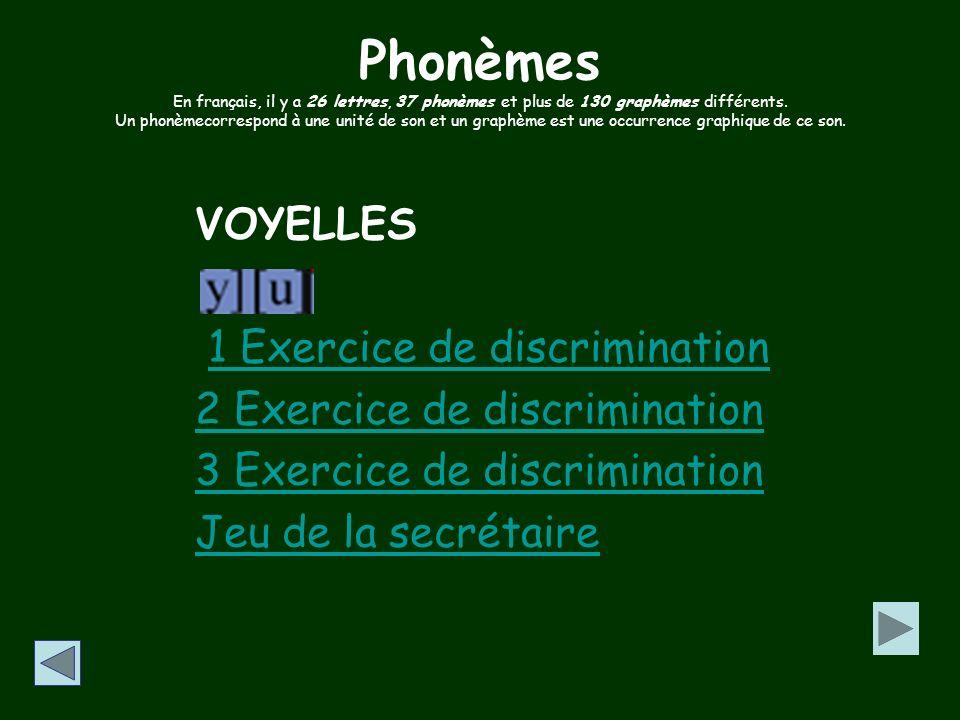Phonèmes SEMI-VOYELLES Présentation générale Exercice de discrimination 1 Exercice de discrimination 2 Jeu Exercice de discrimination 1