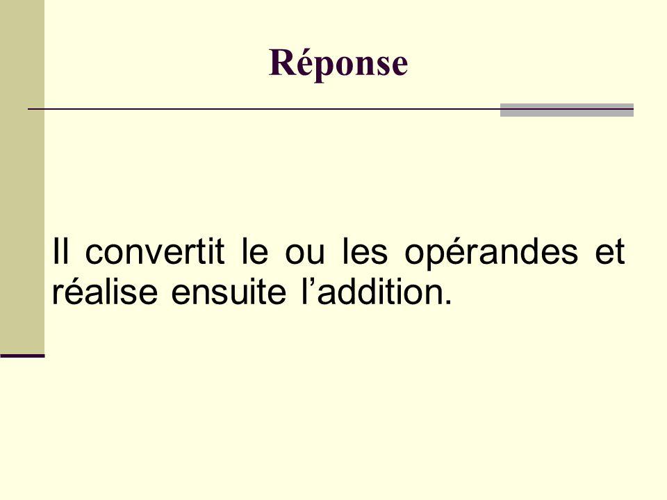 Mécanisme de promotion entière Les signed char, unsigned char, short int et unsigned short int sont toujours convertis implicitement en entier.