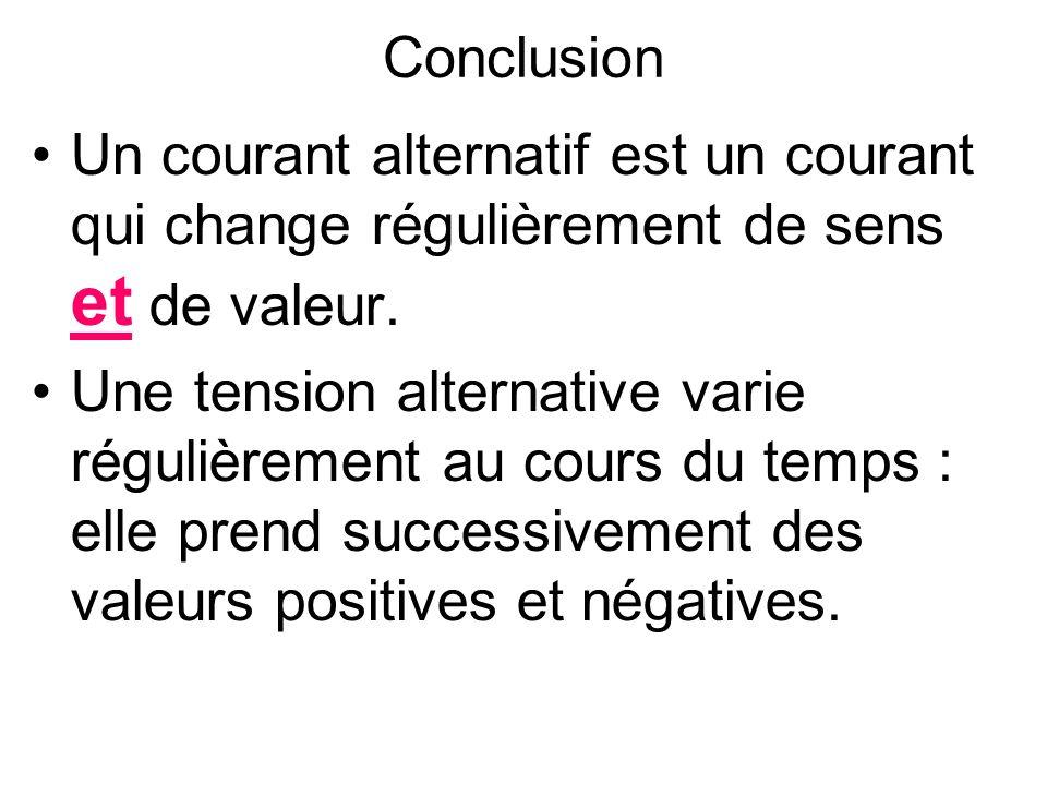 Conclusion Un courant alternatif est un courant qui change régulièrement de sens et de valeur.