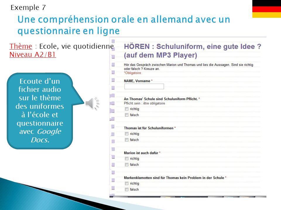 Exemple 6 Ecoute dun reportage issu dune webradio sur le thème de lAvent Thème : Noel Niveau A2/B1 http://www.hr- online.de/website/static /streaming_