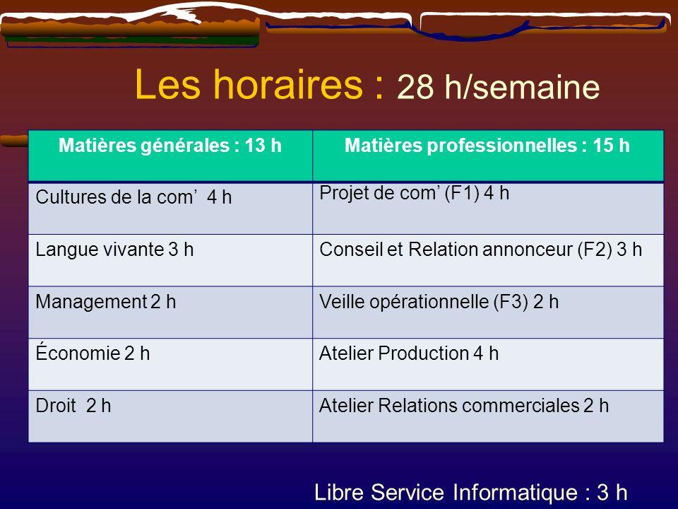 Les horaires : 28 h/semaine Matières générales : 13 hMatières professionnelles : 15 h Cultures de la com 4 h Projet de com (F1) 4 h Langue vivante 3 h