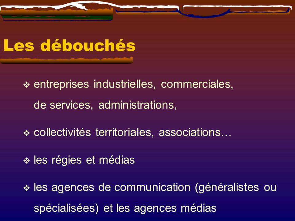 Les débouchés entreprises industrielles, commerciales, de services, administrations, collectivités territoriales, associations… les régies et médias l