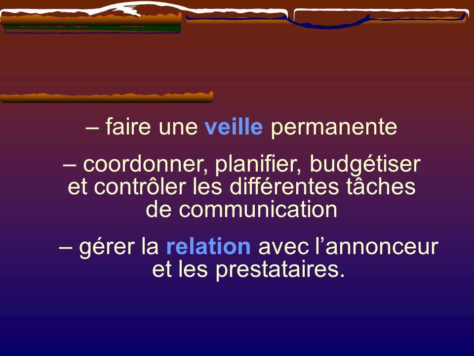 – gérer la relation avec lannonceur et les prestataires. – faire une veille permanente – coordonner, planifier, budgétiser et contrôler les différente