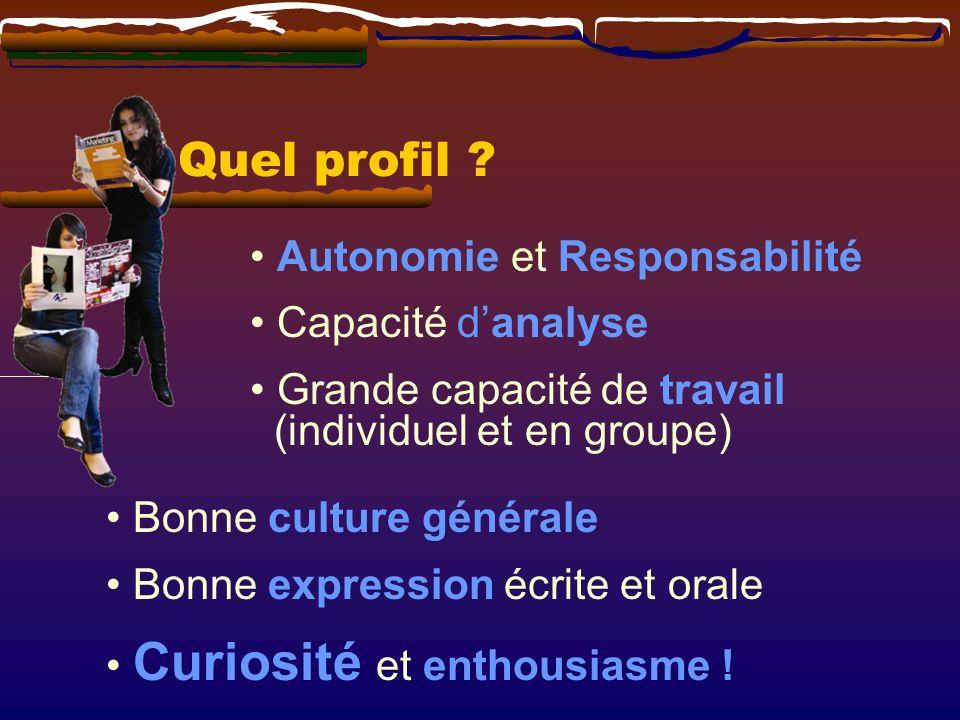 Autonomie et Responsabilité Capacité danalyse Grande capacité de travail (individuel et en groupe) Bonne culture générale Bonne expression écrite et orale Curiosité et enthousiasme .