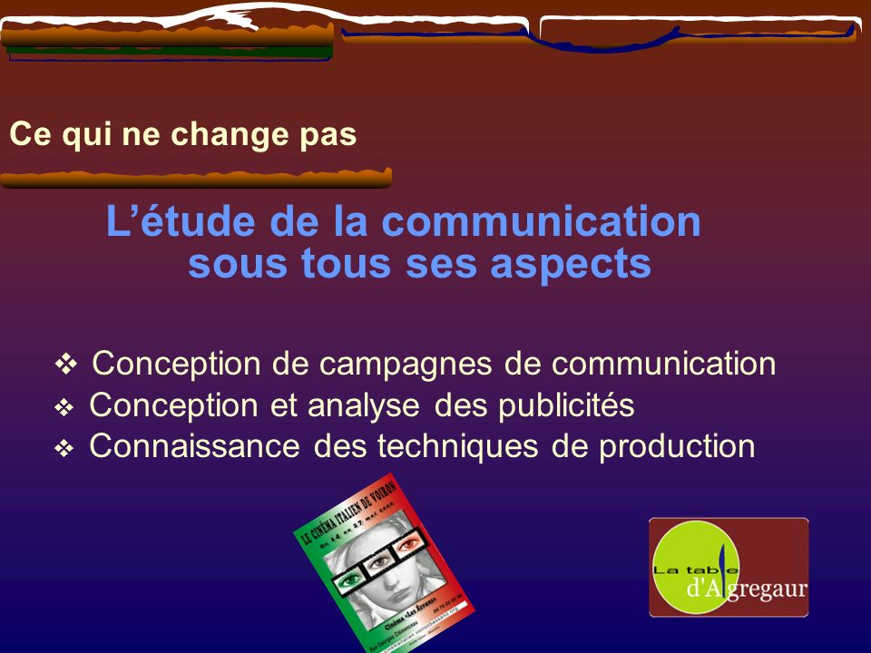 Ce qui ne change pas Létude de la communication sous tous ses aspects Conception de campagnes de communication Conception et analyse des publicités Co
