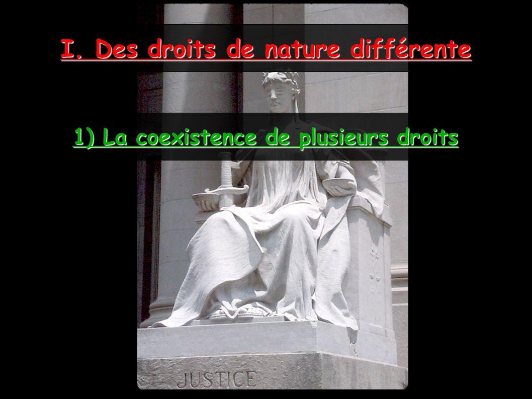 I. Des droits de nature différente 1) La coexistence de plusieurs droits