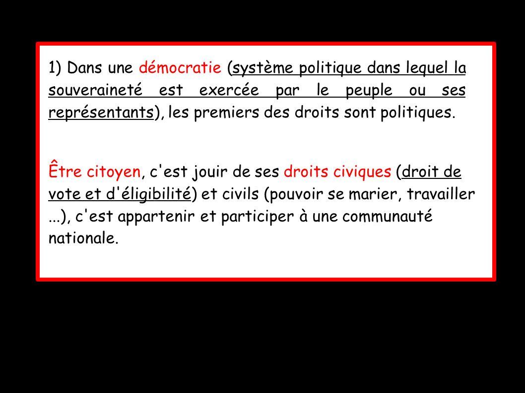 1) Dans une démocratie (système politique dans lequel la souveraineté est exercée par le peuple ou ses représentants), les premiers des droits sont po