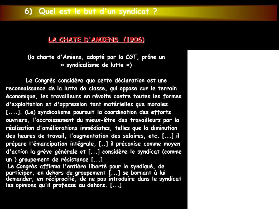 LA CHATE D'AMIENS (1906) (la charte d'Amiens, adopté par la CGT, prône un « syndicalisme de lutte ») Le Congrès considère que cette déclaration est un