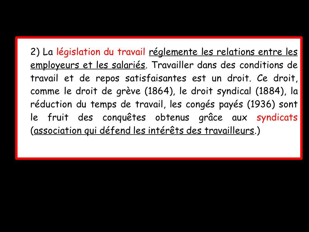 2) La législation du travail réglemente les relations entre les employeurs et les salariés. Travailler dans des conditions de travail et de repos sati