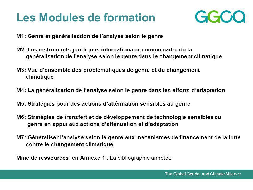 The Global Gender and Climate Alliance Les Modules de formation M1: Genre et généralisation de lanalyse selon le genre M2: Les instruments juridiques