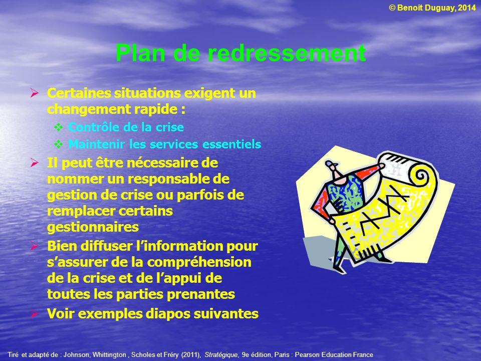 © Benoit Duguay, 2014 Plan de redressement Certaines situations exigent un changement rapide : Contrôle de la crise Maintenir les services essentiels