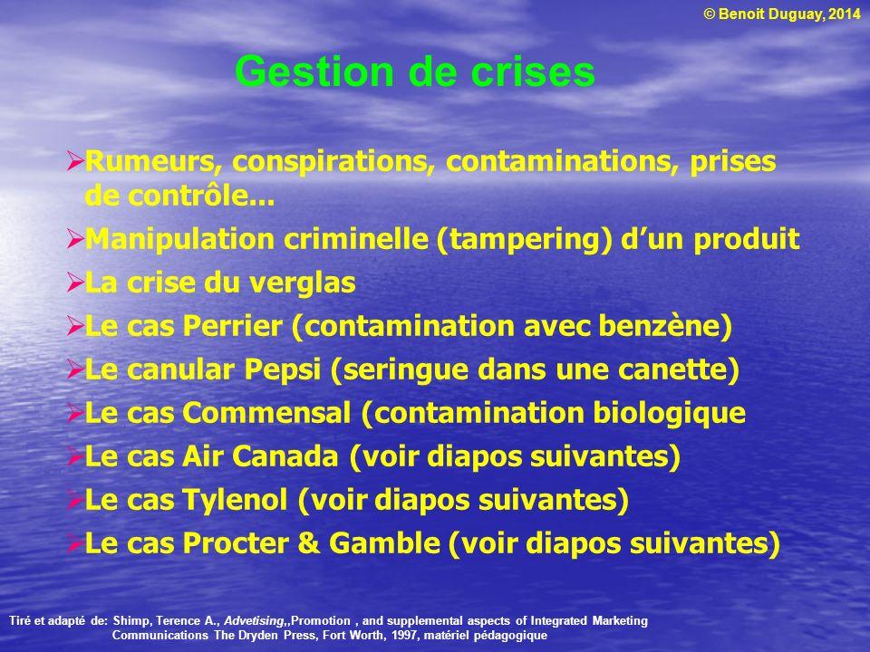 © Benoit Duguay, 2014 Gestion de crises Rumeurs, conspirations, contaminations, prises de contrôle... Manipulation criminelle (tampering) dun produit