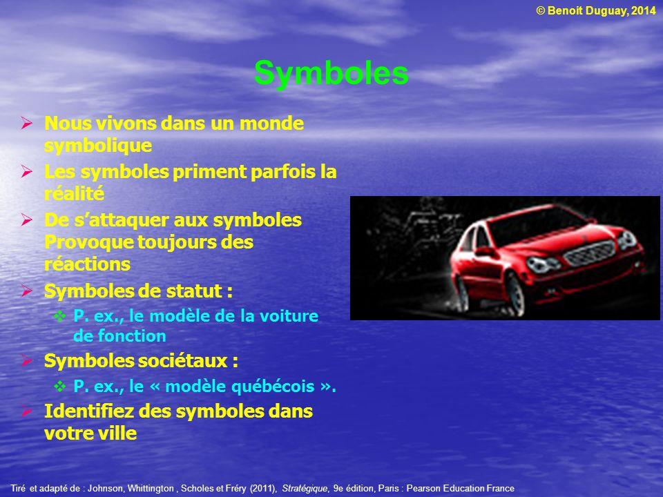 © Benoit Duguay, 2014 Symboles Nous vivons dans un monde symbolique Les symboles priment parfois la réalité De sattaquer aux symboles Provoque toujours des réactions Symboles de statut : P.