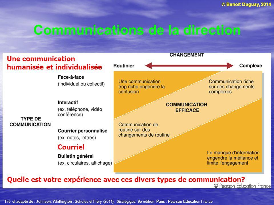 © Benoit Duguay, 2014 Communications de la direction Courriel Une communication humanisée et individualisée Quelle est votre expérience avec ces divers types de communication.