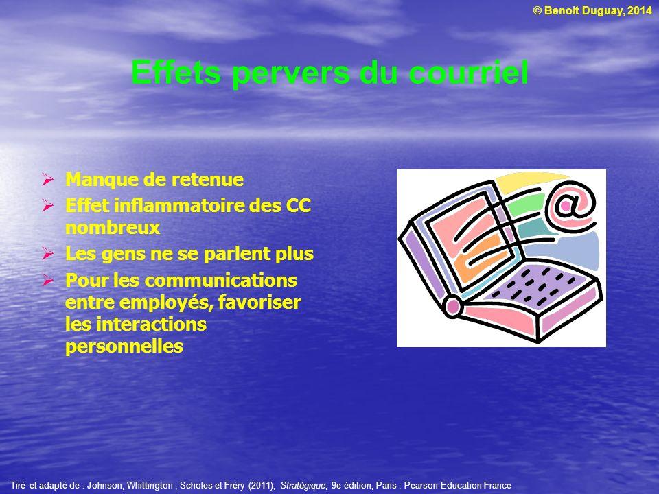 © Benoit Duguay, 2014 Effets pervers du courriel Manque de retenue Effet inflammatoire des CC nombreux Les gens ne se parlent plus Pour les communicat
