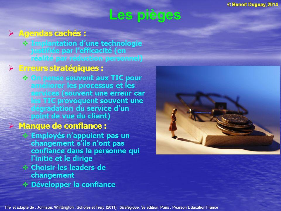 © Benoit Duguay, 2014 Agendas cachés : Implantation dune technologie justifiée par lefficacité (en réalité par réduction personnel) Erreurs stratégiqu
