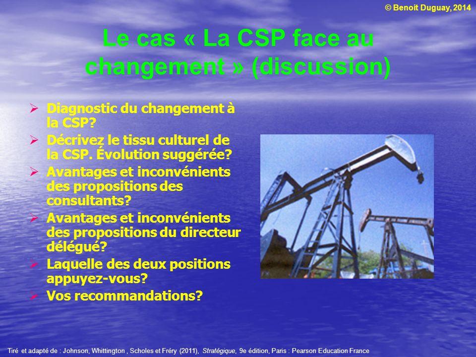 © Benoit Duguay, 2014 Le cas « La CSP face au changement » (discussion) Diagnostic du changement à la CSP? Décrivez le tissu culturel de la CSP. Évolu