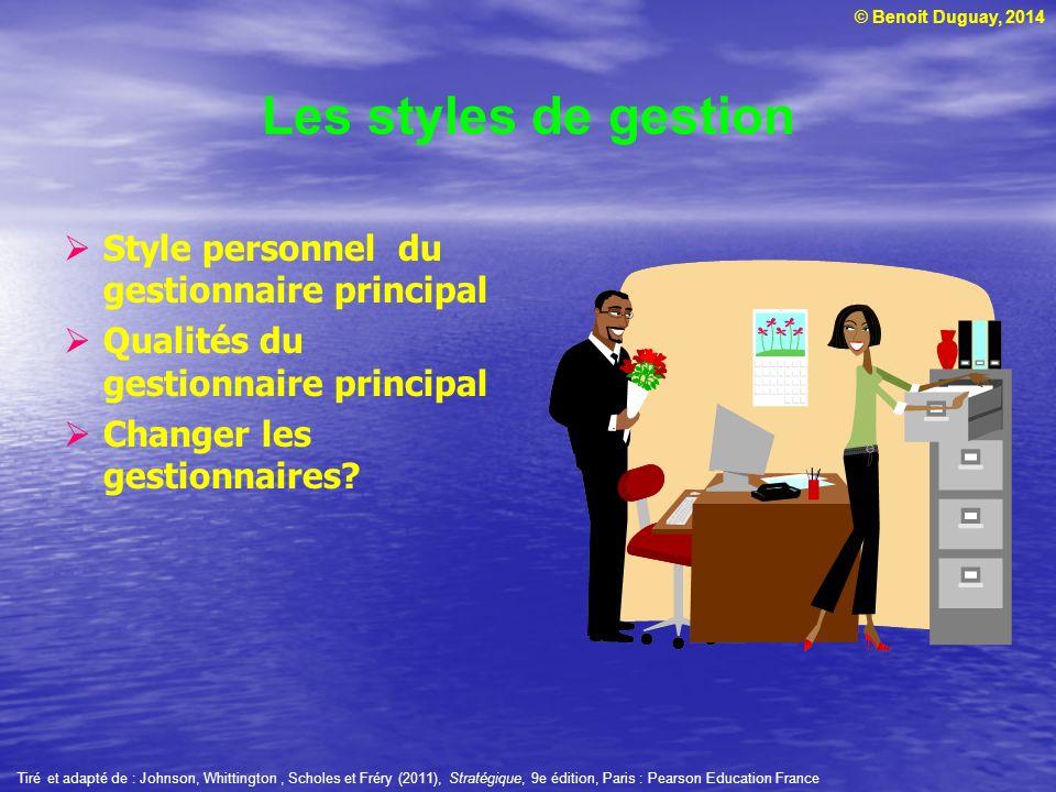 © Benoit Duguay, 2014 Style personnel du gestionnaire principal Qualités du gestionnaire principal Changer les gestionnaires? Les styles de gestion Ti