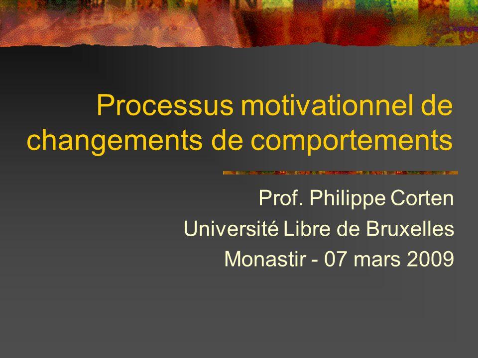Processus motivationnel de changements de comportements Prof. Philippe Corten Université Libre de Bruxelles Monastir - 07 mars 2009