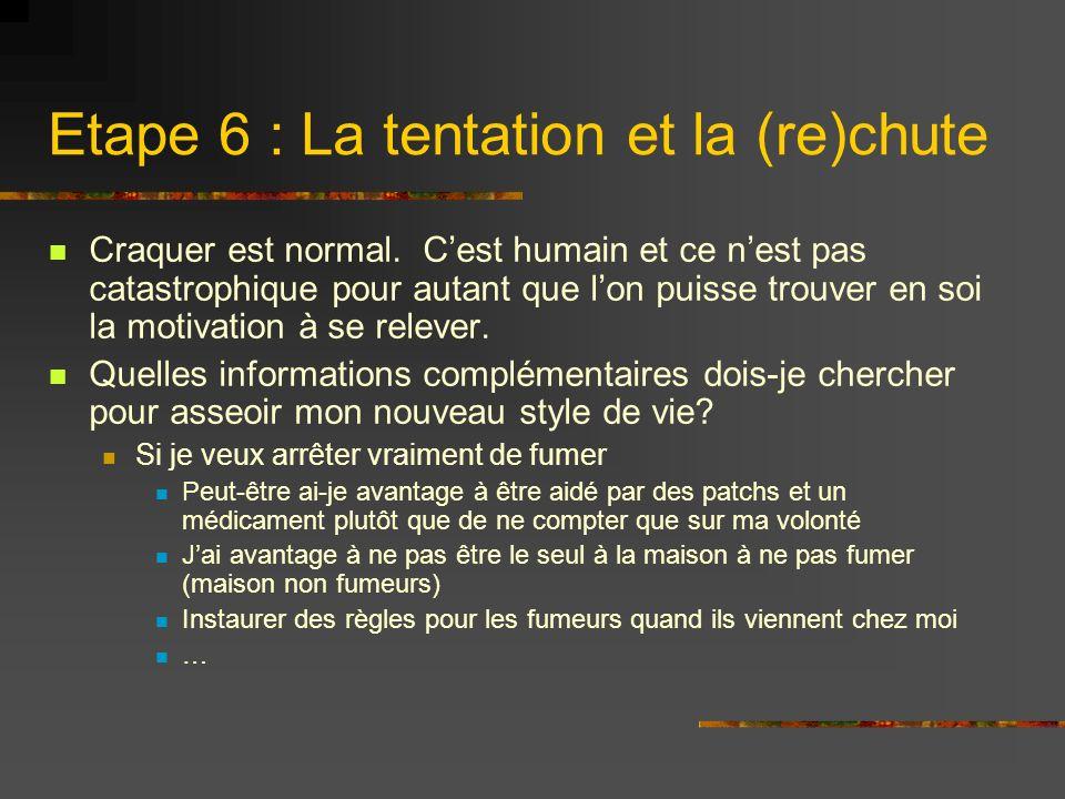 Etape 6 : La tentation et la (re)chute Craquer est normal. Cest humain et ce nest pas catastrophique pour autant que lon puisse trouver en soi la moti