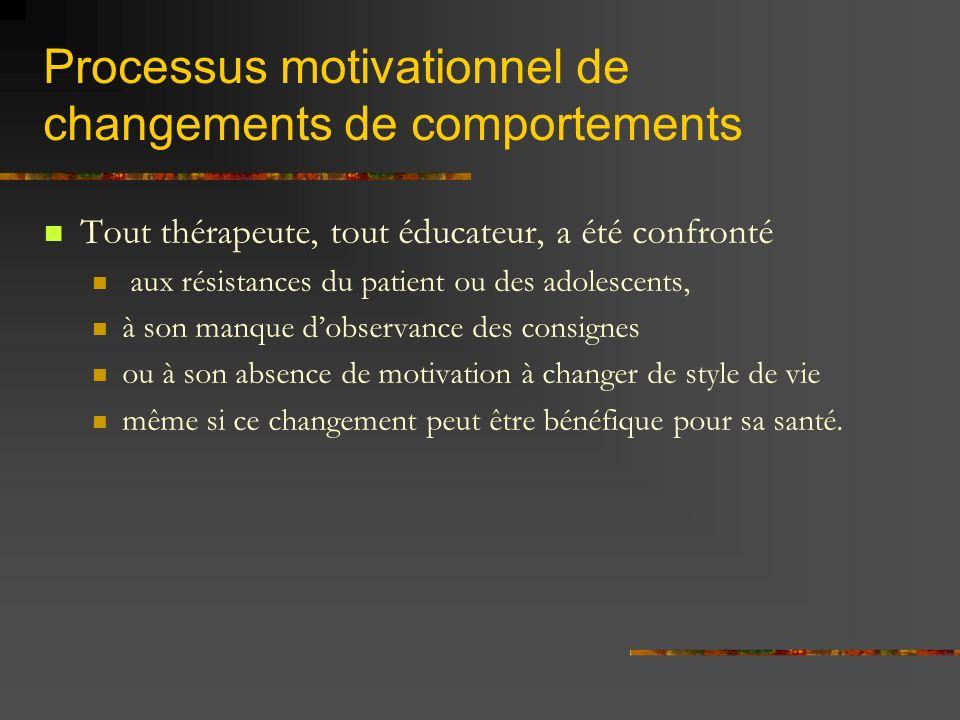 Processus motivationnel de changements de comportements Tout thérapeute, tout éducateur, a été confronté aux résistances du patient ou des adolescents