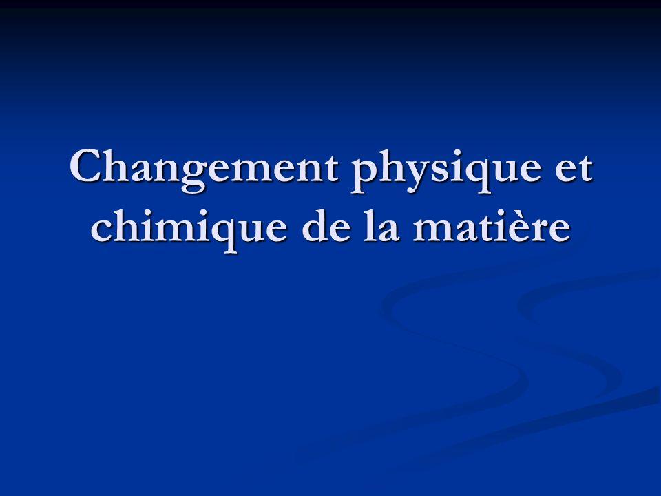Changement physique et chimique de la matière