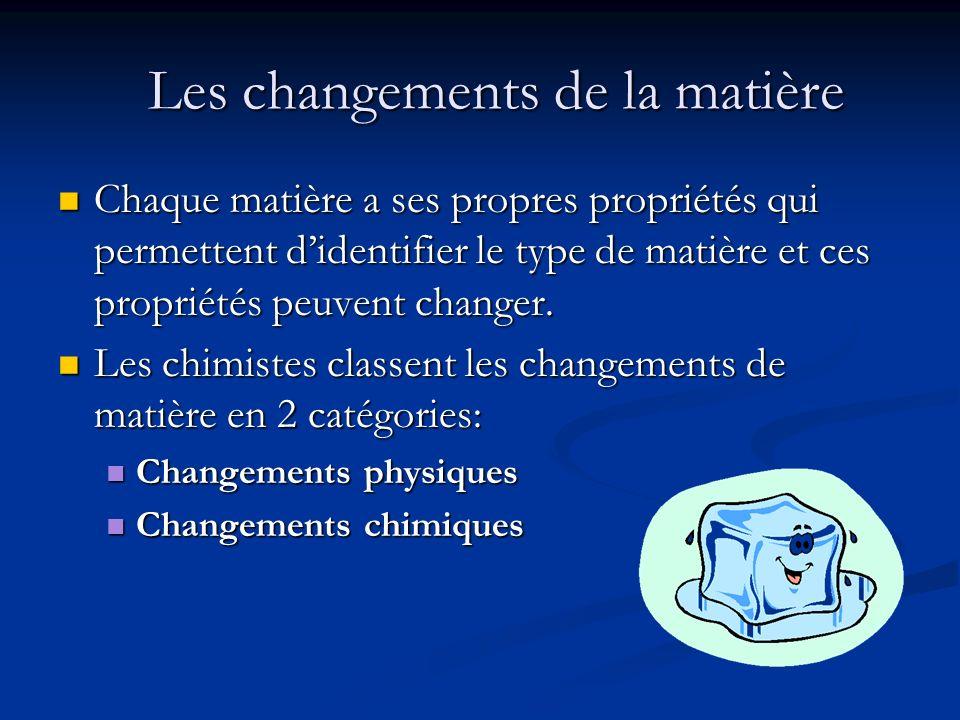 Les changements de la matière Chaque matière a ses propres propriétés qui permettent didentifier le type de matière et ces propriétés peuvent changer.