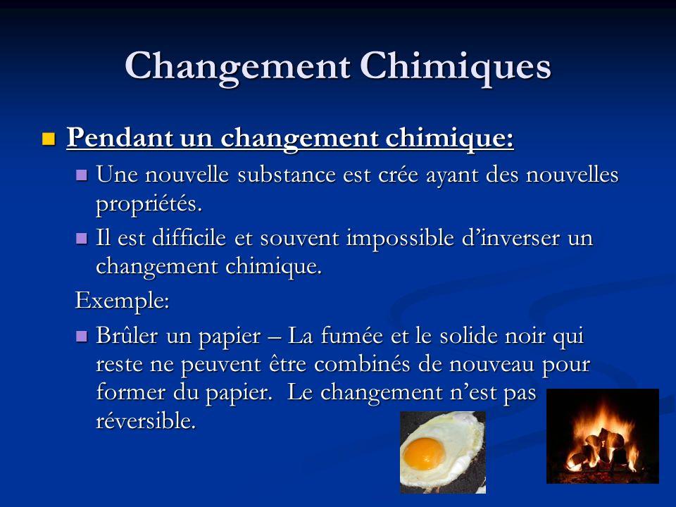 Changement Chimiques Pendant un changement chimique: Pendant un changement chimique: Une nouvelle substance est crée ayant des nouvelles propriétés. U