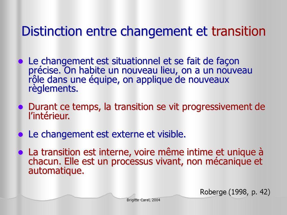 Brigitte Carel, 2004 Distinction entre changement et transition Le changement est situationnel et se fait de façon précise. On habite un nouveau lieu,