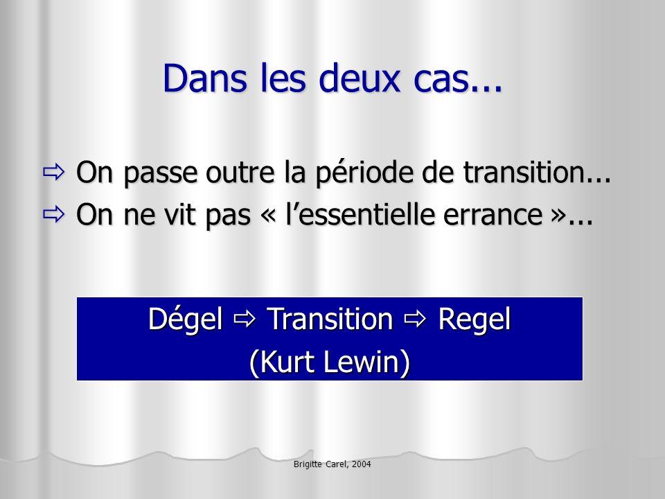 Brigitte Carel, 2004 Dans les deux cas... On passe outre la période de transition... On passe outre la période de transition... On ne vit pas « lessen