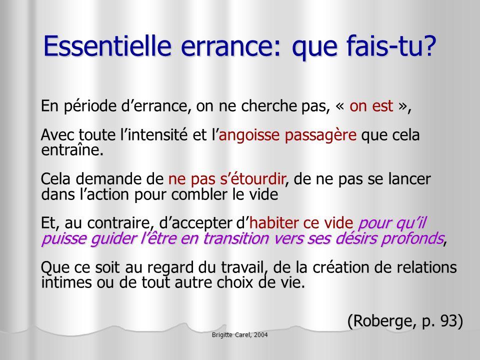Brigitte Carel, 2004 Essentielle errance: que fais-tu? En période derrance, on ne cherche pas, « on est », Avec toute lintensité et langoisse passagèr