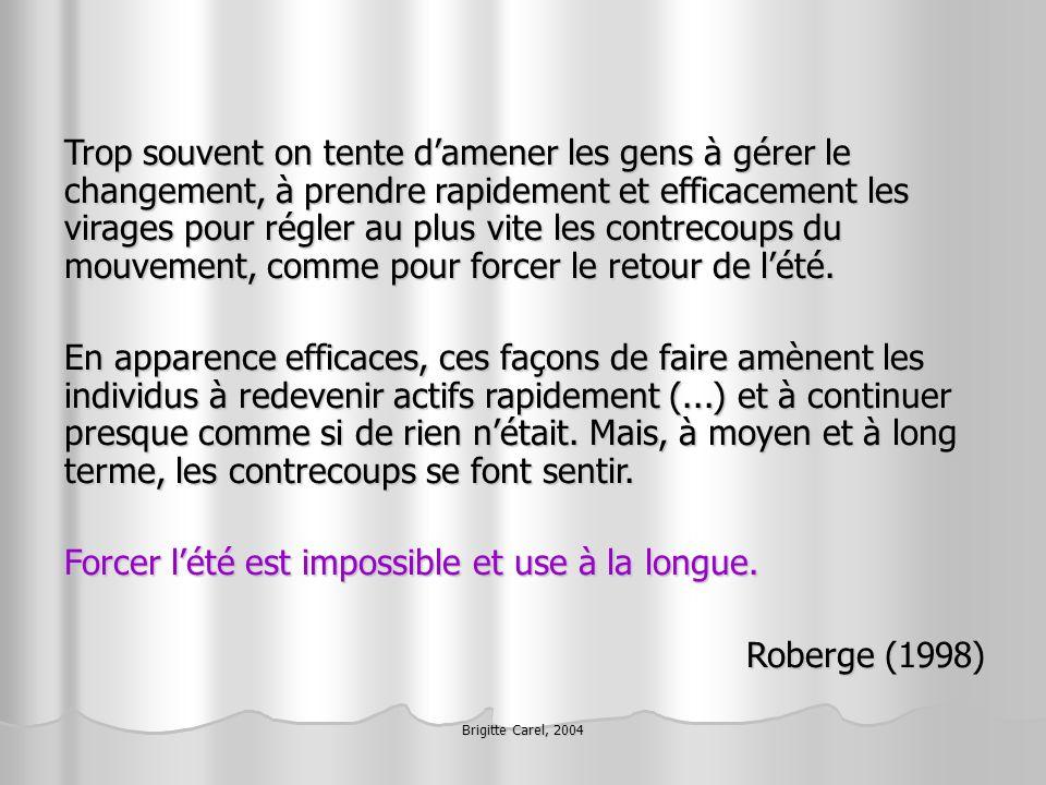 Brigitte Carel, 2004 Trop souvent on tente damener les gens à gérer le changement, à prendre rapidement et efficacement les virages pour régler au plu