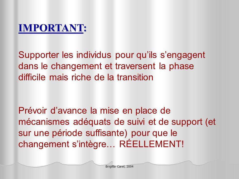 Brigitte Carel, 2004 IMPORTANT: Supporter les individus pour quils sengagent dans le changement et traversent la phase difficile mais riche de la tran