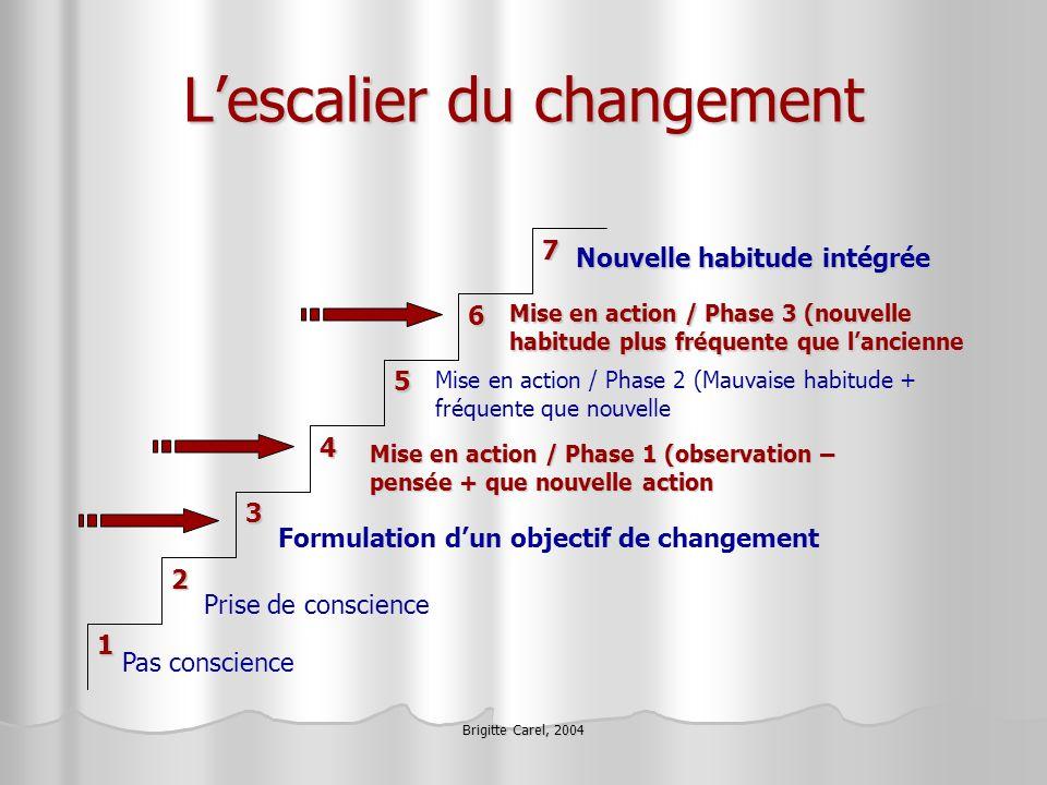 Brigitte Carel, 2004 Lescalier du changement 71 4 3 5 6 2 Pas conscience Prise de conscience Formulation dun objectif de changement Mise en action / P