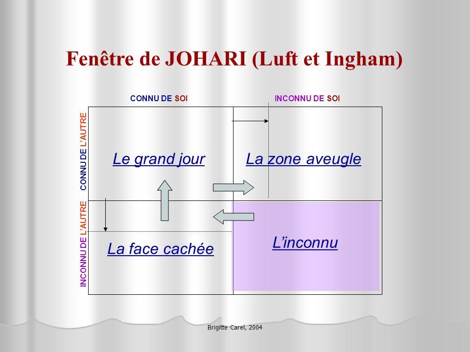 Brigitte Carel, 2004 Fenêtre de JOHARI (Luft et Ingham) Le grand jourLa zone aveugle La face cachée Linconnu CONNU DE SOIINCONNU DE SOI CONNU DE LAUTR