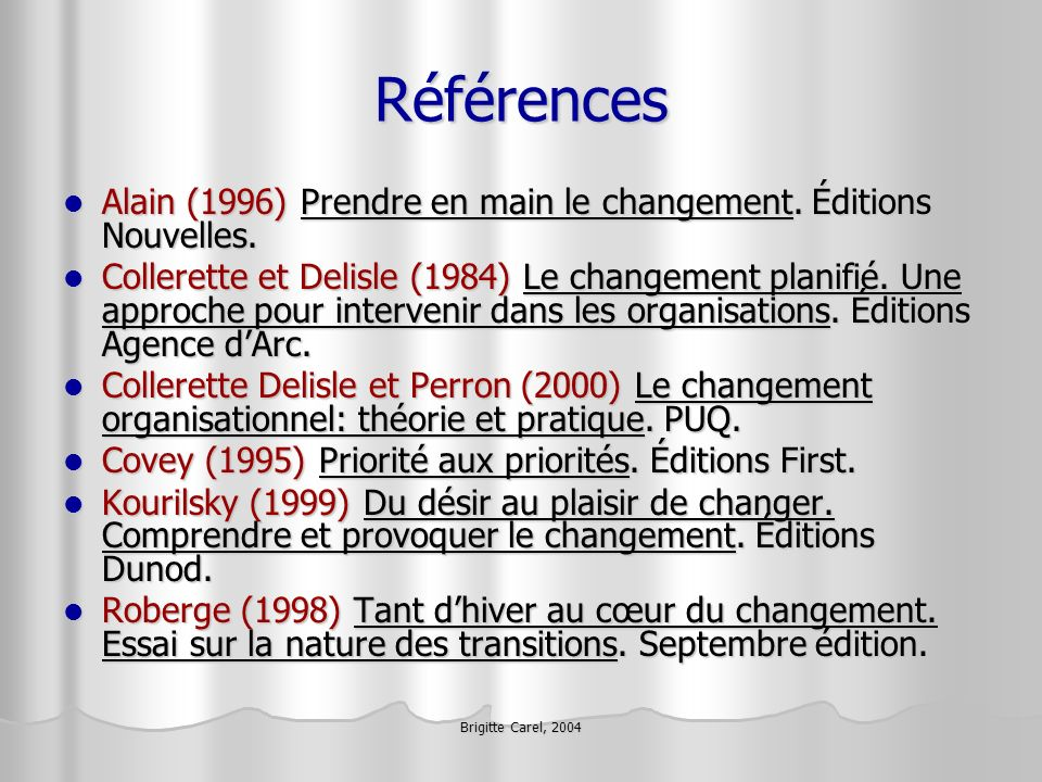 Brigitte Carel, 2004 Références Alain (1996) Prendre en main le changement. Éditions Nouvelles. Alain (1996) Prendre en main le changement. Éditions N