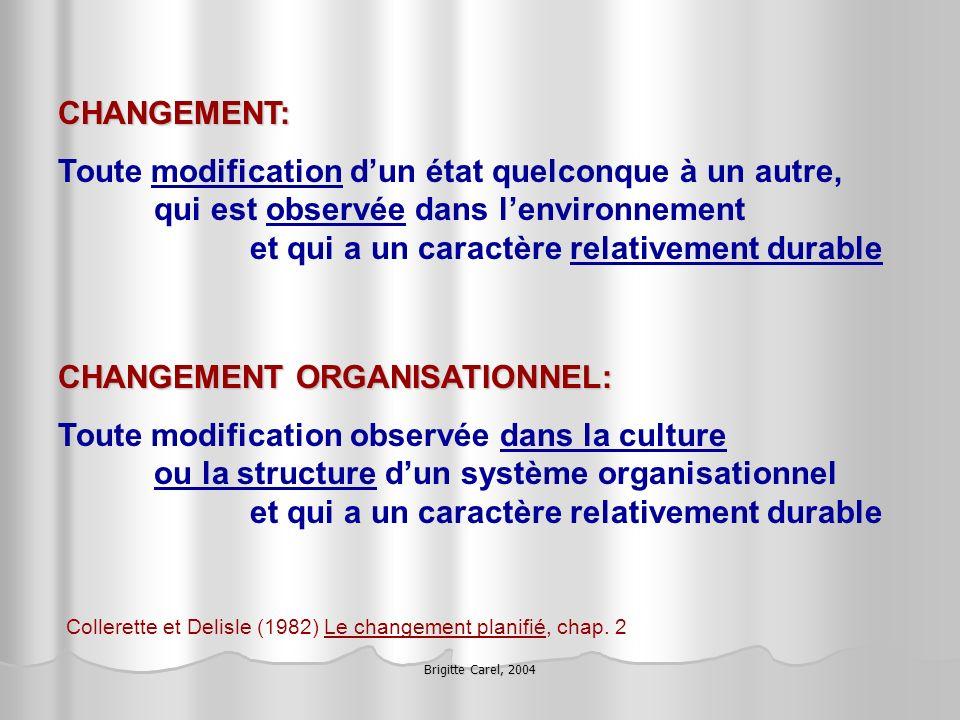 Brigitte Carel, 2004 Trop souvent on tente damener les gens à gérer le changement, à prendre rapidement et efficacement les virages pour régler au plus vite les contrecoups du mouvement, comme pour forcer le retour de lété.