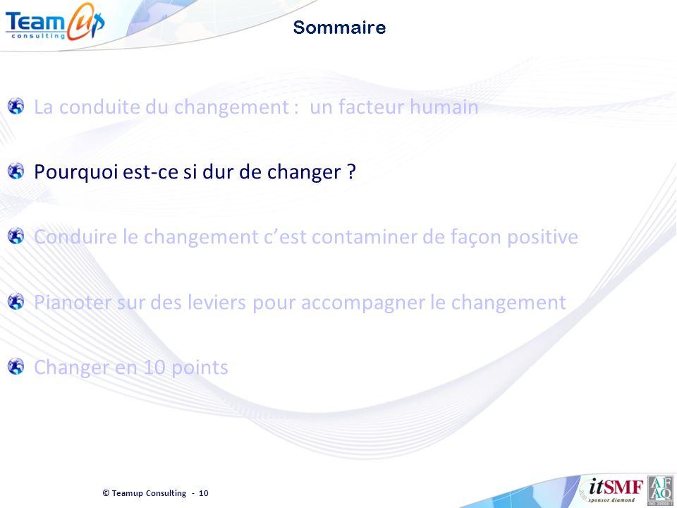 © Teamup Consulting - 10 Sommaire La conduite du changement : un facteur humain Pourquoi est-ce si dur de changer ? Conduire le changement cest contam