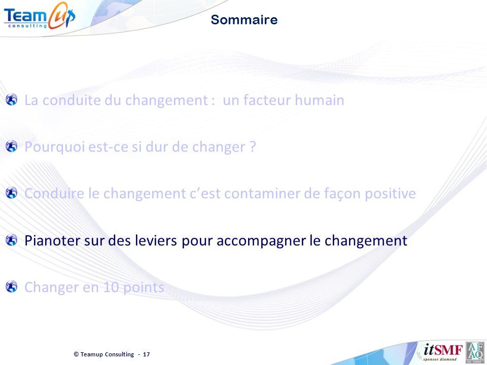 © Teamup Consulting - 17 Sommaire La conduite du changement : un facteur humain Pourquoi est-ce si dur de changer ? Conduire le changement cest contam