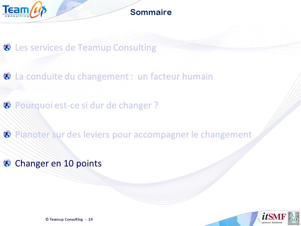 © Teamup Consulting - 19 Sommaire Les services de Teamup Consulting La conduite du changement : un facteur humain Pourquoi est-ce si dur de changer ?