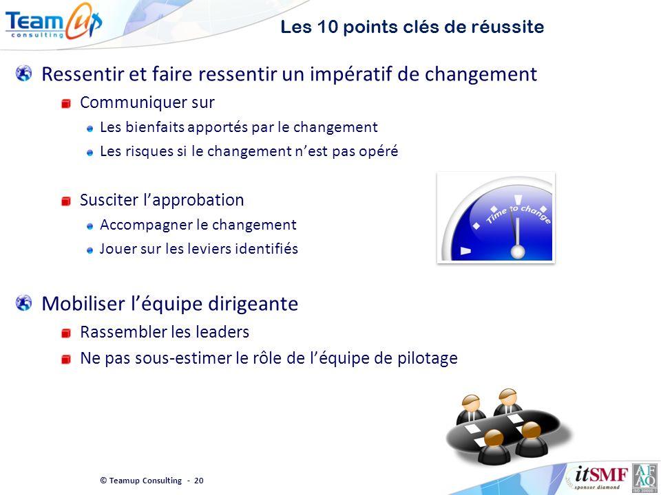 © Teamup Consulting - 20 Les 10 points clés de réussite Ressentir et faire ressentir un impératif de changement Communiquer sur Les bienfaits apportés