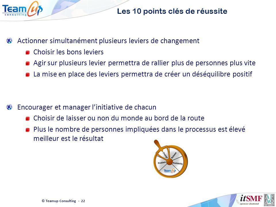 © Teamup Consulting - 22 Les 10 points clés de réussite Actionner simultanément plusieurs leviers de changement Choisir les bons leviers Agir sur plus