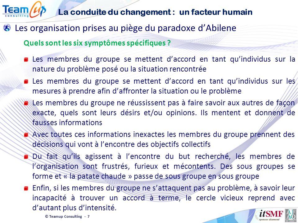 © Teamup Consulting - 7 Les organisation prises au piège du paradoxe dAbilene Quels sont les six symptômes spécifiques ? Les membres du groupe se mett