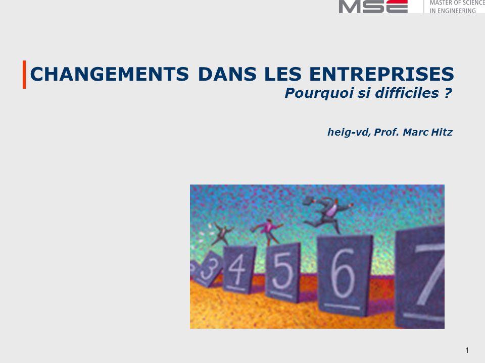 1 CHANGEMENTS DANS LES ENTREPRISES Pourquoi si difficiles ? heig-vd, Prof. Marc Hitz